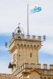 Wierza Jawny pałac San Marino republiki San marino Obrazy Stock