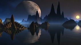 Wierza obcy i trzy księżyc ilustracja wektor