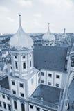 Wierza pejzaż miejski Augsburska sceneria, Niemcy Zdjęcia Stock