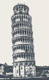 Wierza Pisa na kwadracie cudy royalty ilustracja