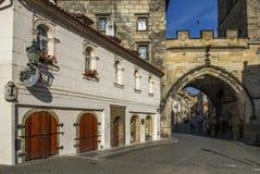 Wierza przy końcówką Charles most brama stary miasteczko Obrazy Stock