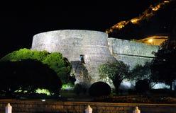 Wierza venetian fortyfikacja i kasztel przy nocą - Kotor fotografia royalty free