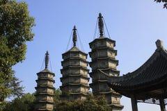 3 wierza w Jiaxing mieście dla antycznej czas nawigaci Zdjęcie Royalty Free