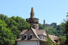 Wierza, windeck i stary buildig, weinheim Zdjęcie Royalty Free