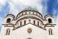 Wierzchołek świętego Sava chrześcijański catedral z błękitnym chmurnym niebem Obrazy Royalty Free
