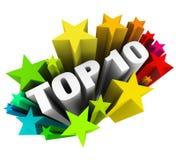 Wierzchołek 10 Dziesięć gwiazdy Świętuje Najlepszy Przeglądową oceny nagrodę Fotografia Royalty Free