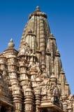 Wierzchołek Kandariya Mahadeva świątynia, Khajuraho, India, UNESCO miejsce Obraz Stock