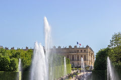 Wierzchołek Neptune fontanna i pałac, Versailles, Francja Fotografia Royalty Free
