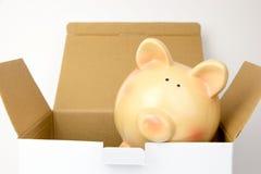 Wierzchołek rozpieczętowany kartonu pudełko z prosiątko bankiem inside obrazy royalty free