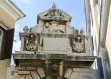 Wierzchołek Stary kamienny wejście w miasteczku Rovinj, Chorwacja Fotografia Royalty Free