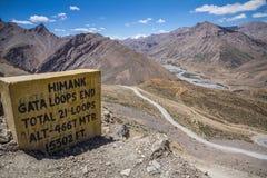 Wierzchołek 21 switchbacks Gata Zapętla, Ladakh, India Zdjęcie Stock