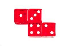 Wierzchołek widok cztery czerwonego kostka do gry obrazy royalty free