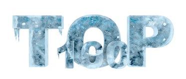 Wierzchołek 100 zrobił w kawałku lodowa 3d ilustracja Fotografia Stock