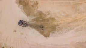Wierzchołka puszka widok czerparki działanie dla costruction miejsca, obrazy royalty free