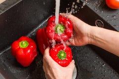 Wierzchołka puszka widok na czarnym zlew z rękami myje czerwoną dzwonkową paprykę Obrazy Stock