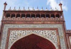 Wierzchołek brama Taj Mahal w Agra, India Obrazy Royalty Free
