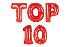 Wierzchołek 10, czerwony kolor Zdjęcie Royalty Free