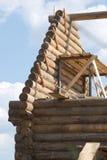 Wierzchołek drewniana domowa budowa od szalunku Fotografia Royalty Free