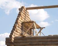 Wierzchołek drewniana domowa budowa od szalunku Zdjęcia Stock