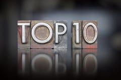 Wierzchołka 10 Letterpress Zdjęcia Stock