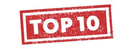 Wierzchołka 10 rocznika czerwieni znaczka etykietki sztandaru wektor royalty ilustracja