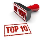 Wierzchołka 10 znaczka Dziesięć zatwierdzenia wynika oceny Najlepszy przegląd Obrazy Stock