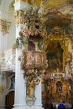 Wies朝圣教会 内部看法 巴伐利亚德国 免版税库存图片