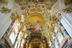 Wies朝圣教会 内部看法 巴伐利亚德国 库存照片
