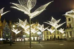 Wiesbaden in Germany during Christmas. The Town Square lighted with flower shaped street lamps on New Year in Wiesbaden in Germany. Photo taken on: Januart 1st stock photo