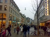 WIESBADEN, GERMANY - DECEMBER 27, 2007: Architecture and people on the streets city. WIESBADEN, GERMANY - DECEMBER 27, 2007: Architecture and people on the royalty free stock photo