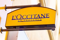 L`OCCITANE Logo. Wiesbaden, Germany - June 03 2018: L`OCCITANE logo on a facade. L`occitane en Provence is an international retailer of body, face, fragrances stock image