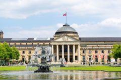 Wiesbaden Kurhaus with fountain in Hesse Germany royalty free stock image