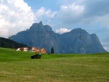 Wiese bei Alpe di Siusi in Nord-Italien lizenzfreie stockbilder