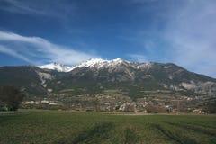 Wiese in den Alpen Stockfotos