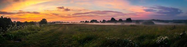 Wiese durch den Fluss während des Sommersonnenuntergangs Lizenzfreie Stockfotografie