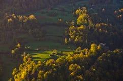 Wiese illumintad durch Strahl des Lichtes bei Herbstsonnenaufgang stockfotografie