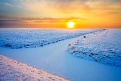 Wiese im Winter am Sonnenuntergang Lizenzfreie Stockbilder
