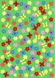 Wiese mit Blumen und Schmetterlingen Lizenzfreies Stockbild