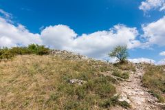 Wiese mit Felsen und Baum unter dem blauen Himmel - gestalten Sie auf kleinem Berg landschaftlich Stockfoto