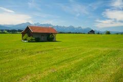 Wiese mit Häuschen nahe dem See Forggensee Lizenzfreie Stockfotos