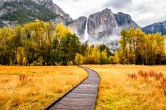 Wiese mit Promenade im Yosemite Nationalpark Tal am Herbst Lizenzfreie Stockfotos