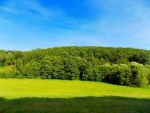 Wiese, Wald und Himmel Lizenzfreie Stockbilder