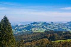 Wiesen und Häuser in den österreichischen Alpen Stockbilder