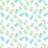 Wiesenblumen, Frühlingsgras Nettes ditsy wiederholendes Muster watercolor Stockfotos