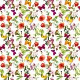 Wiesenblumen und -schmetterlinge, die Muster wiederholen watercolor lizenzfreie abbildung