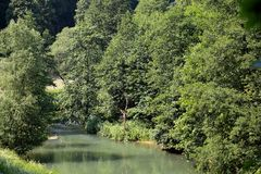 Wiesent river at the Franconian Alb, in Southern Germany. Royalty Free Stock Images