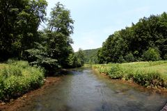 Wiesent river at the Franconian Alb, in Southern Germany. Stock Photography