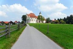 Wieskirche kyrktar, Steingaden i Bayern, Tyskland Arkivbild