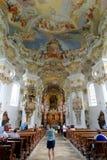 Wieskirche kyrktar, Steingaden i Bayern, Tyskland arkivbilder