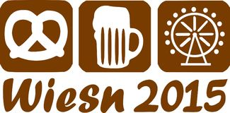 Wiesn 2015 icons. For german beer festival Royalty Free Stock Image